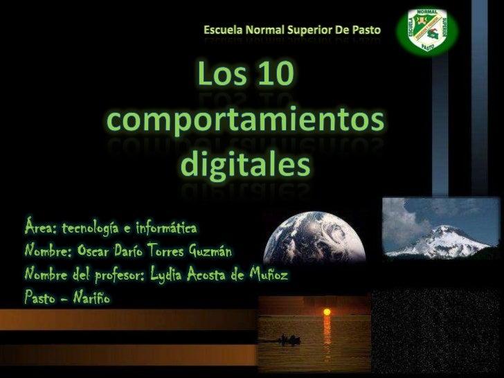 Área: tecnología e informáticaNombre: Oscar Darío Torres GuzmánNombre del profesor: Lydia Acosta de MuñozPasto - Nariño