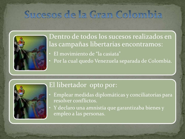 Sucesos de la Gran Colombia<br />