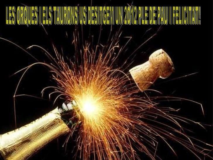 LES ORQUES I ELS TAURONS US DESITGEN UN FELIÇ ANY 2012 PLE DE PAU I FELICITAT. LES ORQUES I ELS TAURONS US DESITGEM UN 2O1...