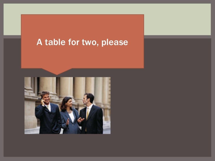 A table for two, please