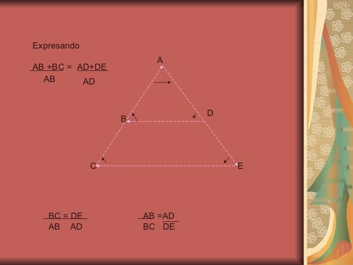 A B C D E Expresando  AB +BC =  AD+DE AB AD BC = DE AB  AD AB =AD BC  DE