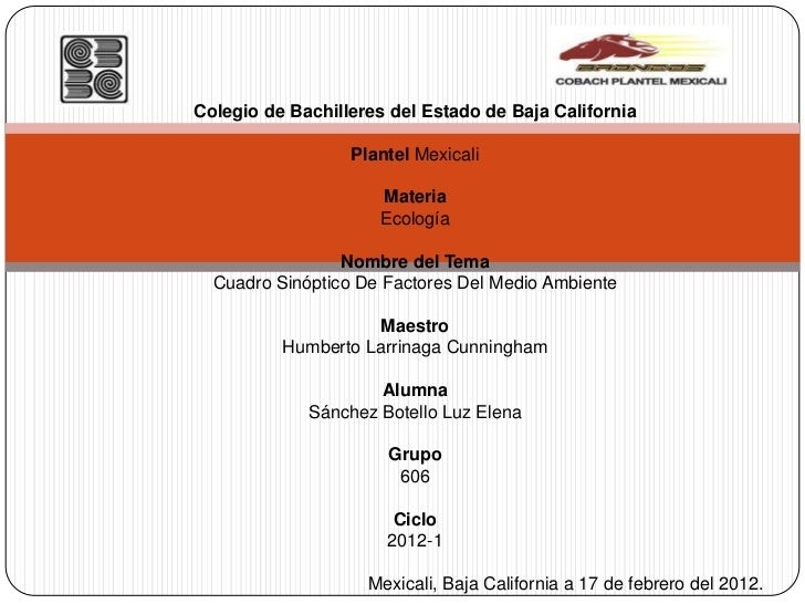 Colegio de Bachilleres del Estado de Baja California                  Plantel Mexicali                     Materia        ...