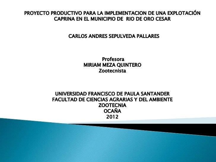 PROYECTO PRODUCTIVO PARA LA IMPLEMENTACION DE UNA EXPLOTACIÓN          CAPRINA EN EL MUNICIPIO DE RIO DE ORO CESAR        ...