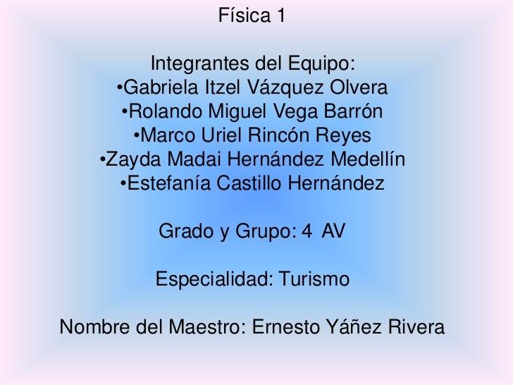 Física 1          Integrantes del Equipo:      •Gabriela Itzel Vázquez Olvera       •Rolando Miguel Vega Barrón        •Ma...