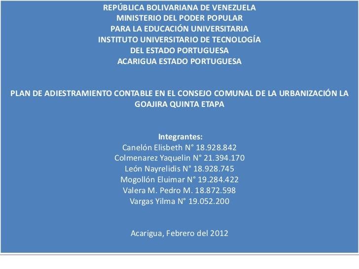 REPÚBLICA BOLIVARIANA DE VENEZUELA                       MINISTERIO DEL PODER POPULAR                      PARA LA EDUCACI...