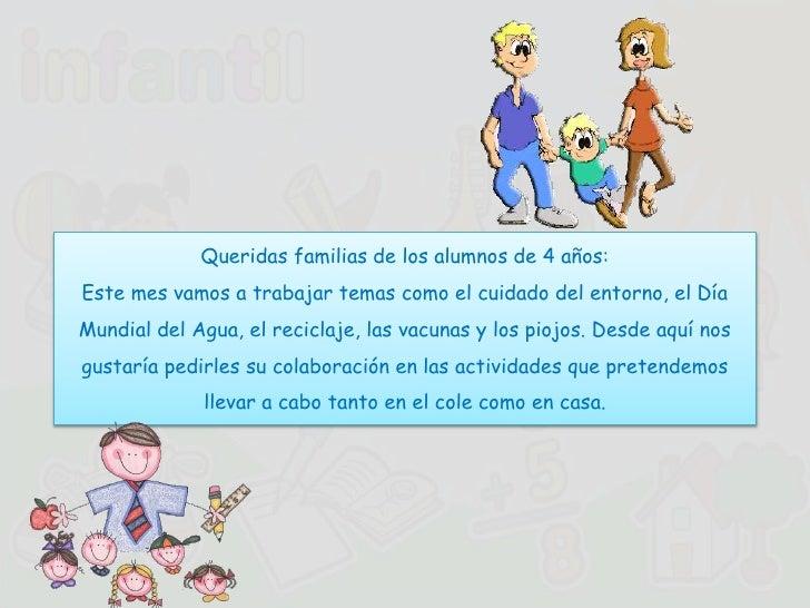 Queridas familias de los alumnos de 4 años:Este mes vamos a trabajar temas como el cuidado del entorno, el DíaMundial del ...