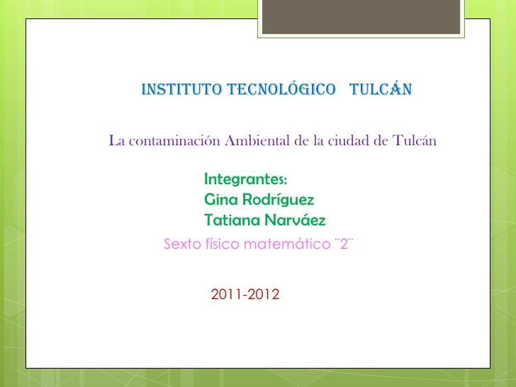 Instituto Tecnológico TulcánLa contaminación Ambiental de la ciudad de Tulcán              Integrantes:              Gina ...