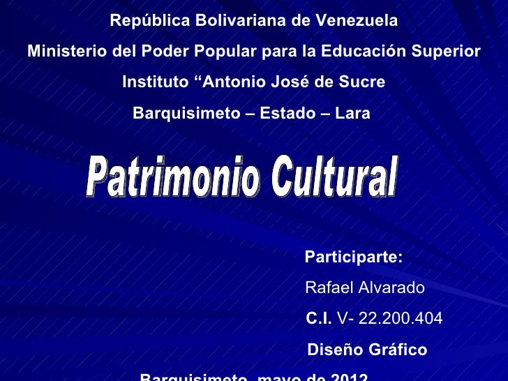 """República Bolivariana de VenezuelaMinisterio del Poder Popular para la Educación Superior           Instituto """"Antonio Jos..."""
