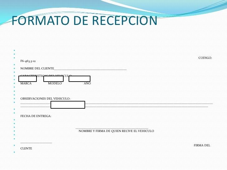 Formato De Recepcion Del Vehiculo Garden
