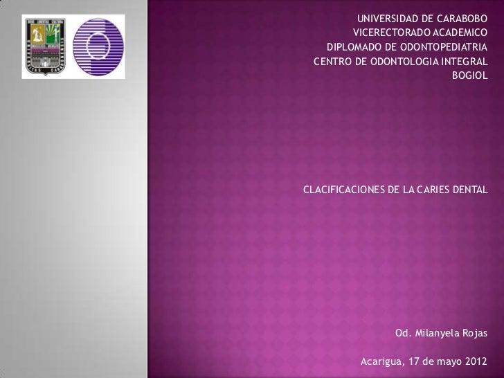UNIVERSIDAD DE CARABOBO         VICERECTORADO ACADEMICO    DIPLOMADO DE ODONTOPEDIATRIA  CENTRO DE ODONTOLOGIA INTEGRAL   ...