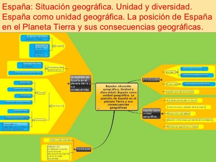 España: Situación geográfica. Unidad y diversidad.España como unidad geográfica. La posición de Españaen el Planeta Tierra...