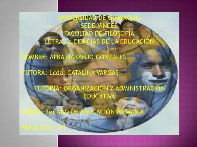 UNIVERSIDAD DE GUAYAQUIL                 SEDE VINCES           FACULTAD DE FILOSOFÍA      LETRAS Y CIENCIAS DE LA EDUCACIÓ...