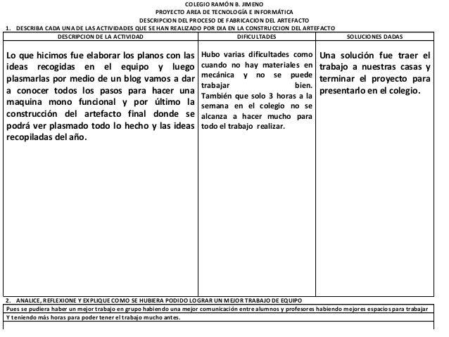 COLEGIO RAMÓN B. JIMENO                                              PROYECTO AREA DE TECNOLOGÍA E INFORMÁTICA            ...