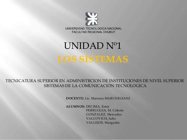 UNIVERSIDAD TECNOLOGICA NACIONAL                            FACULTAD REGIONAL CHUBUT                     UNIDAD Nº1       ...