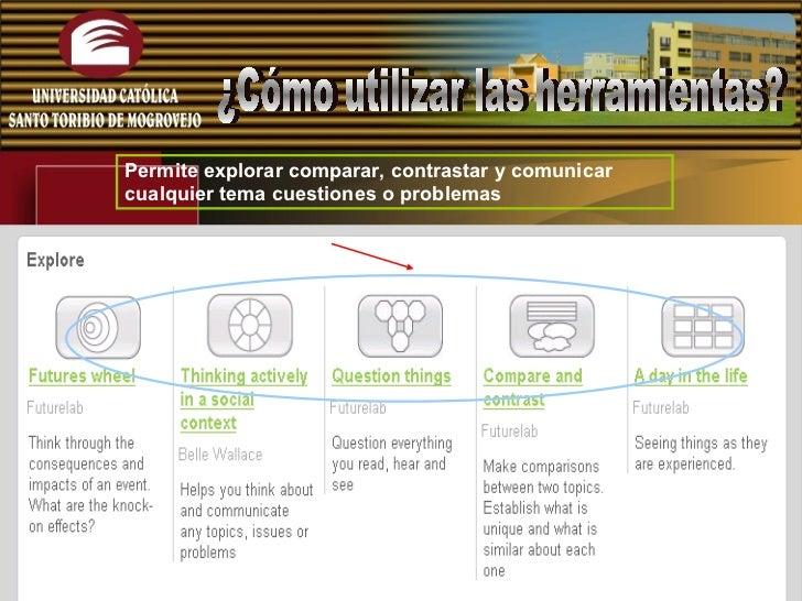 Permite explorar comparar, contrastar y comunicar cualquier tema cuestiones o problemas  ¿Cómo utilizar las herramientas?