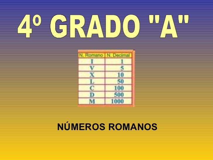 """4º GRADO """"A""""  NÚMEROS ROMANOS"""