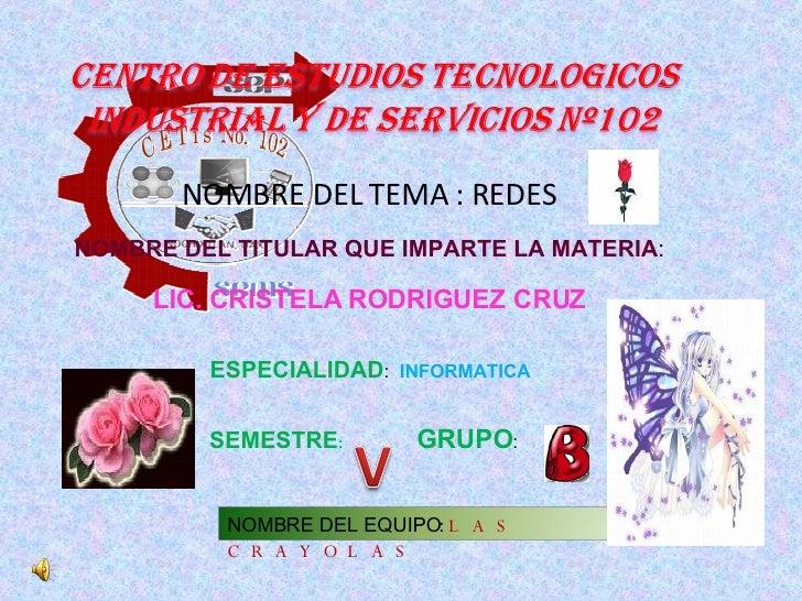 NOMBRE DEL TEMA : REDES NOMBRE DEL TITULAR QUE IMPARTE LA MATERIA:       LIC. CRISTELA RODRIGUEZ CRUZ           ESPECIALID...