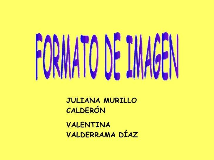FORMATO DE IMAGEN JULIANA MURILLO CALDERÓN VALENTINA VALDERRAMA DÍAZ