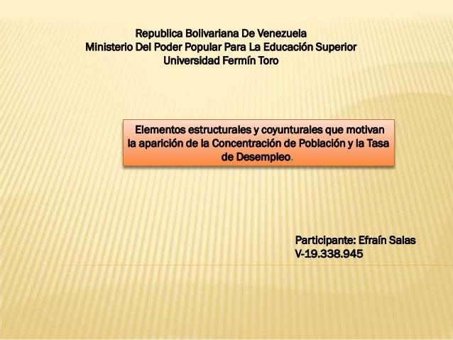 Republica Bolivariana De VenezuelaMinisterio Del Poder Popular Para La Educación Superior                 Universidad Ferm...