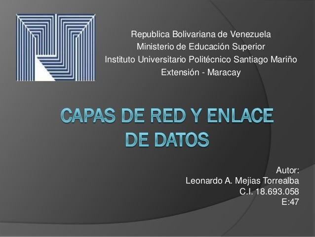 Republica Bolivariana de Venezuela          Ministerio de Educación SuperiorInstituto Universitario Politécnico Santiago M...