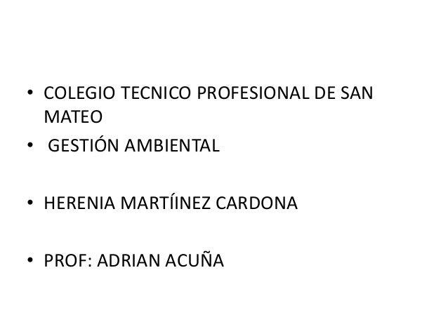 • COLEGIO TECNICO PROFESIONAL DE SAN  MATEO• GESTIÓN AMBIENTAL• HERENIA MARTÍINEZ CARDONA• PROF: ADRIAN ACUÑA