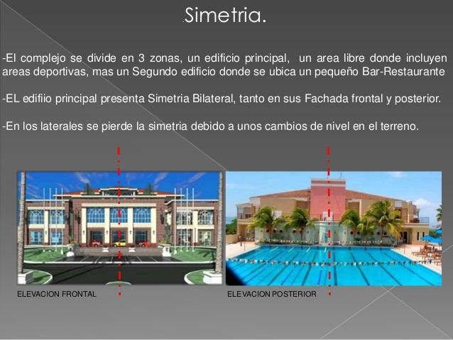 .   Simetria.-El complejo se divide en 3 zonas, un edificio principal, un area libre donde incluyenareas deportivas, mas u...