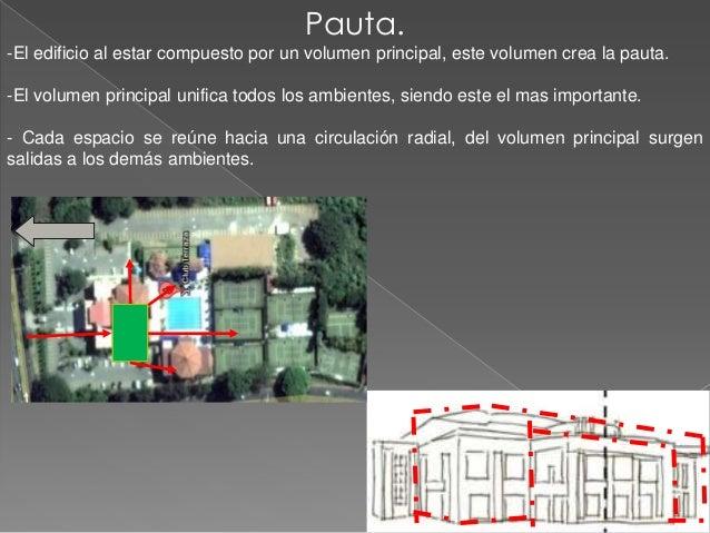 Pauta.-El edificio al estar compuesto por un volumen principal, este volumen crea la pauta.-El volumen principal unifica t...