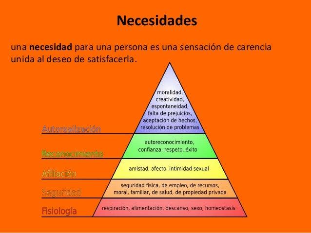 Necesidadesuna necesidad para una persona es una sensación de carenciaunida al deseo de satisfacerla.