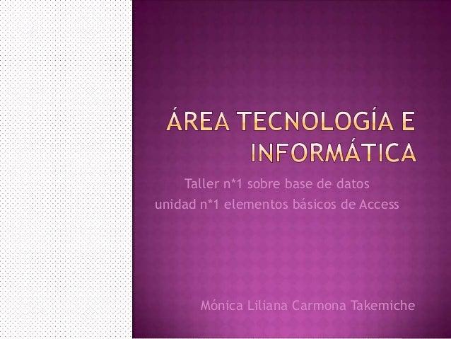 Taller n*1 sobre base de datosunidad n*1 elementos básicos de AccessMónica Liliana Carmona Takemiche