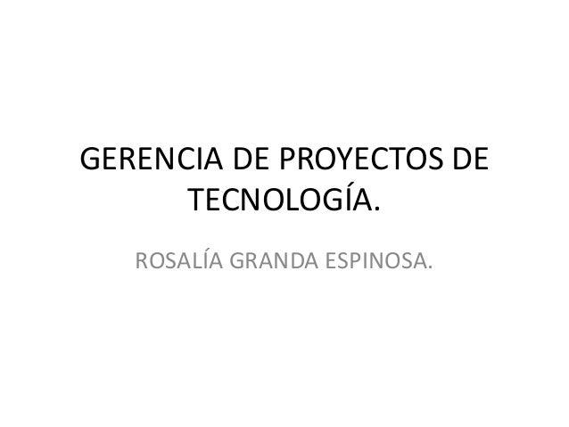 GERENCIA DE PROYECTOS DETECNOLOGÍA.ROSALÍA GRANDA ESPINOSA.