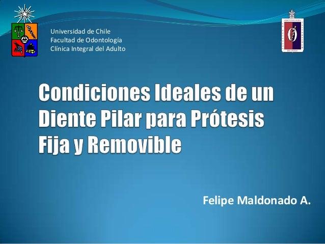 Felipe Maldonado A.Universidad de ChileFacultad de OdontologíaClínica Integral del Adulto
