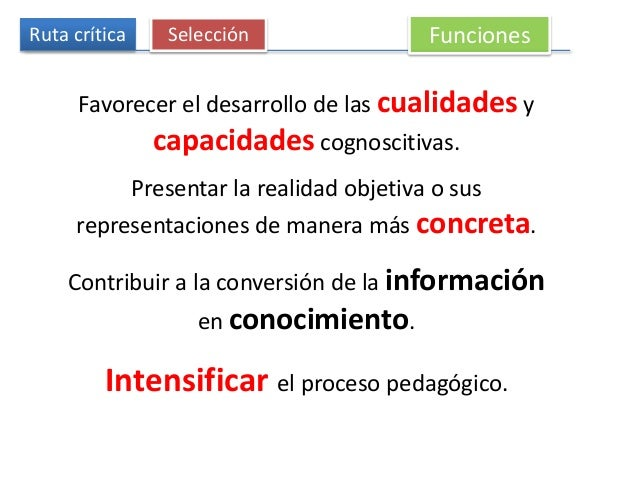 Ruta crítica Selección Funciones Favorecer el desarrollo de las cualidades y capacidades cognoscitivas. Presentar la reali...