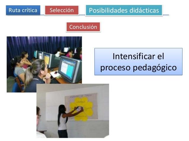 Intensificar el proceso pedagógico Ruta crítica Selección Posibilidades didácticas Conclusión