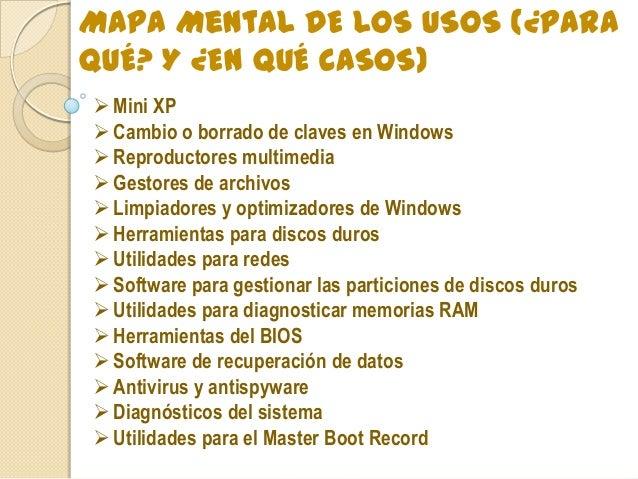 Mapa Mental DE LOS USOS (¿PARA QUÉ? Y ¿EN QUÉ CASOS) Mini XP Cambio o borrado de claves en Windows Reproductores multim...