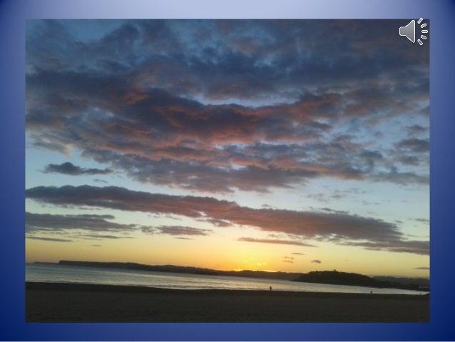 LA PLAYA Veo las luces de los faros. Las gaviotas vuelan alrededor de la playa. Las olas rompen en la orilla. La gente cam...