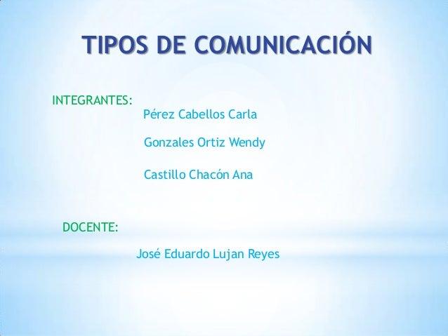 TIPOS DE COMUNICACIÓN INTEGRANTES: Pérez Cabellos Carla Gonzales Ortiz Wendy Castillo Chacón Ana DOCENTE: José Eduardo Luj...