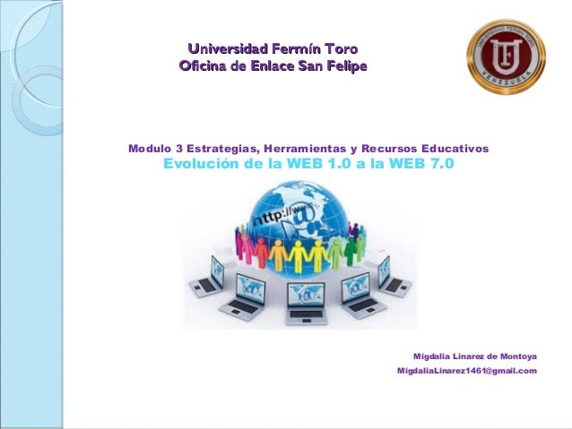 Modulo 3 Estrategias, Herramientas y Recursos Educativos Evolución de la WEB 1.0 a la WEB 7.0 Migdalia Linarez de Montoya ...