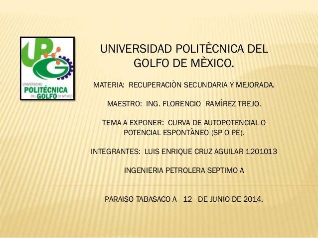 UNIVERSIDAD POLITÈCNICA DEL GOLFO DE MÈXICO. MATERIA: RECUPERACIÒN SECUNDARIA Y MEJORADA. MAESTRO: ING. FLORENCIO RAMÌREZ ...
