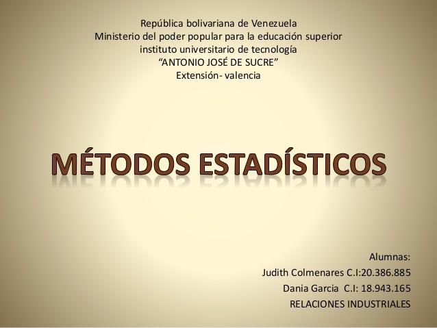 República bolivariana de Venezuela Ministerio del poder popular para la educación superior instituto universitario de tecn...