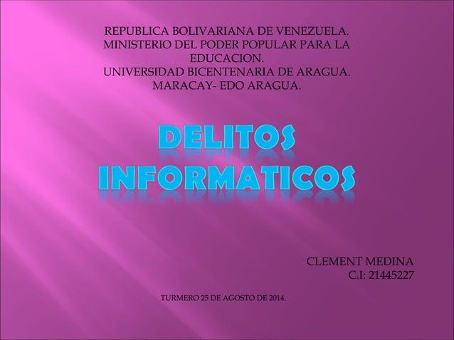 REPUBLICA BOLIVARIANA DE VENEZUELA.  MINISTERIO DEL PODER POPULAR PARA LA  EDUCACION.  UNIVERSIDAD BICENTENARIA DE ARAGUA....