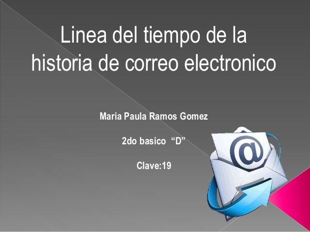 """Linea del tiempo de la  historia de correo electronico  Maria Paula Ramos Gomez  2do basico """"D""""  Clave:19"""
