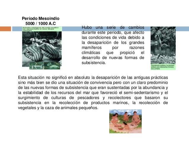 Período Mesoindio  5000 / 1000 A.C  Hubo una serie de cambios  durante este periodo, que afecto  las condiciones de vida d...
