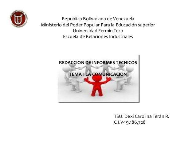 Republica Bolivariana de Venezuela  Ministerio del Poder Popular Para la Educación superior  Universidad Fermín Toro  Escu...