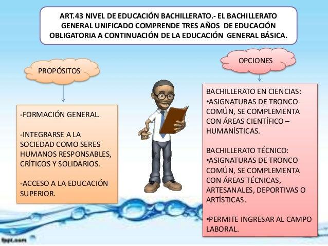 ART.43 NIVEL DE EDUCACIÓN BACHILLERATO.- EL BACHILLERATO  GENERAL UNIFICADO COMPRENDE TRES AÑOS DE EDUCACIÓN  OBLIGATORIA ...