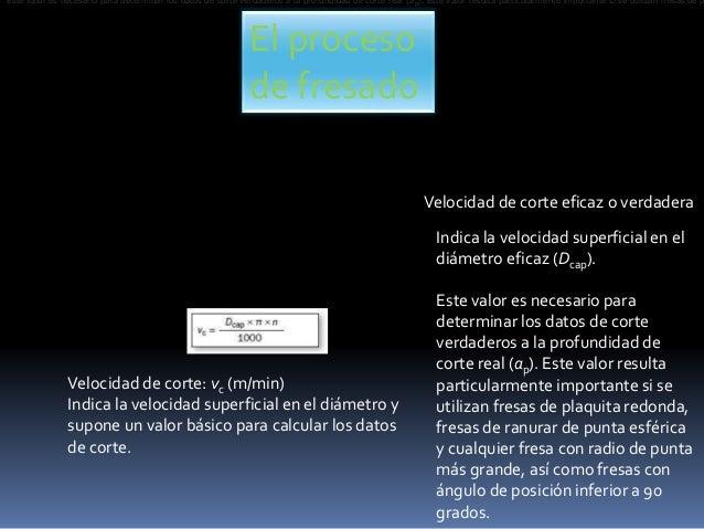 El proceso de fresado Velocidad de corte: vc (m/min) Indica la velocidad superficial en el diámetro y supone un valor bási...