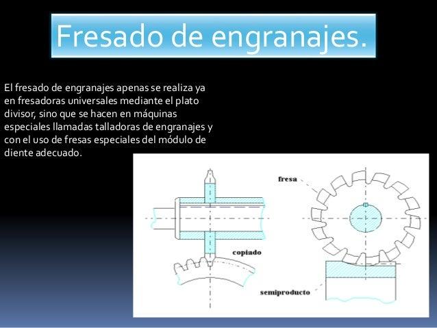 Fresado de engranajes. El fresado de engranajes apenas se realiza ya en fresadoras universales mediante el plato divisor, ...