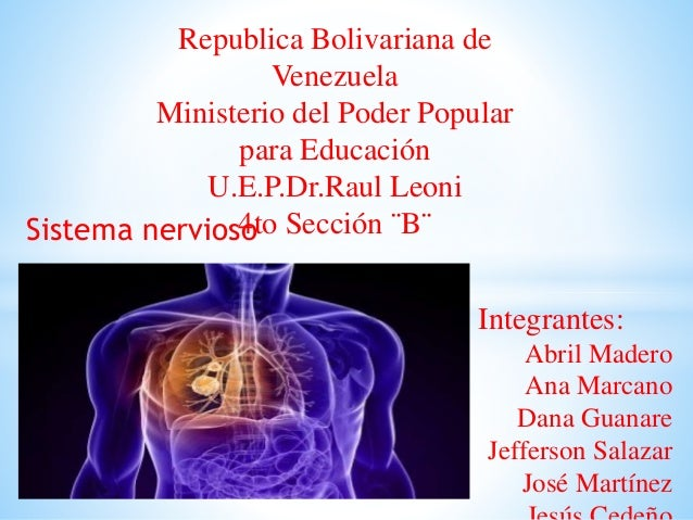 Republica Bolivariana de Venezuela Ministerio del Poder Popular para Educación U.E.P.Dr.Raul Leoni 4to Sección ¨B¨ Integra...