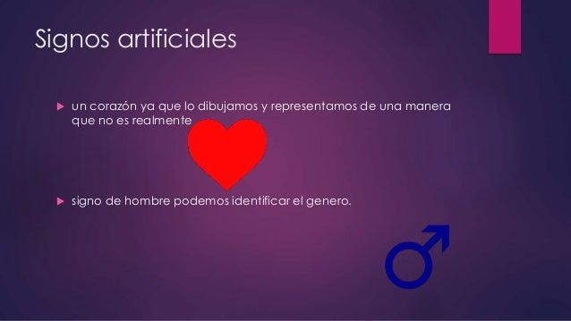 Signos artificiales  un corazón ya que lo dibujamos y representamos de una manera que no es realmente  signo de hombre p...