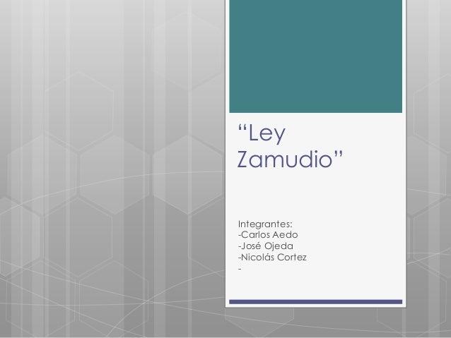 """""""Ley Zamudio"""" Integrantes: -Carlos Aedo -José Ojeda -Nicolás Cortez -"""