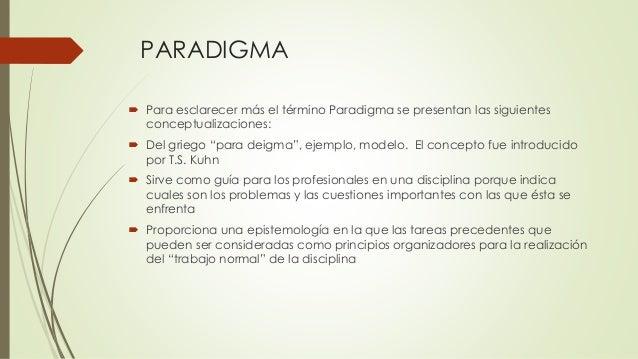"""PARADIGMA  Para esclarecer más el término Paradigma se presentan las siguientes conceptualizaciones:  Del griego """"para d..."""